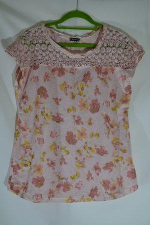 Blumen Shirt Kurzarm mit Spitze Rosa Hellrosa