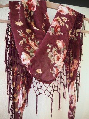 Blumen-Tuch in schönem Bordeaux-Rot