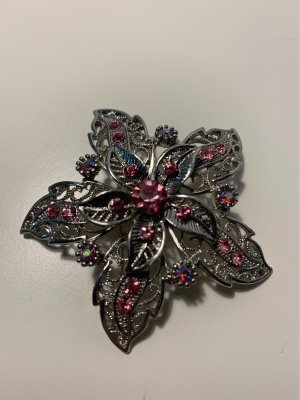 Broche argenté-rose