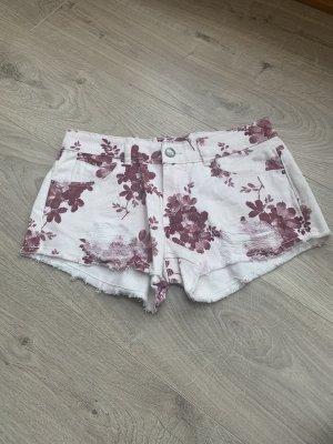 Zara Trafaluc Short moulant blanc-bordeau
