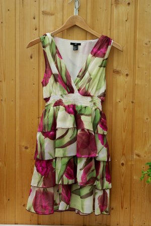 Blumenkleid Abend Kleid drappiert V-Ausschnitt H&M bunt flower summer dress