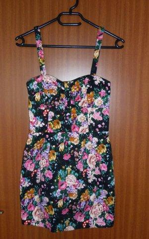 Blumenkleid geblümt Blumenmuster Kleid schwarz pink Mango Gr. S 34