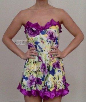 Zara Robe courte jaune primevère-violet foncé