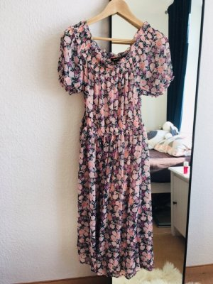 Blumenkleid Midi Kleid rosa Blumen Gr S