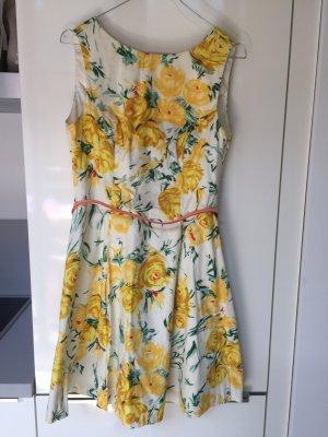 Blumenkleid Oasis, Gr. 36, gelb, rosa Gürtel, Rückendetail