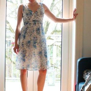 Blumenkleid Sommerkleid Blau weiß