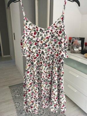 Blumenmuster Kleid weiß