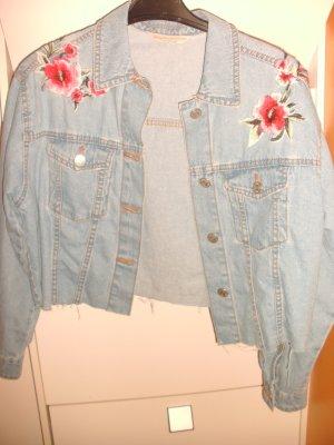 Blumenmuster Oversize Jeansjacke