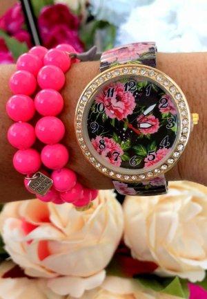 Blumenprint Uhr Schmuck Steinchen Strass Damen Uhr Armbanduhr Schmuck Gold Detail Flower Power Hippie NEU incl. Box