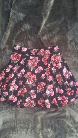 Blumenrock von H&M schwarz/rosa