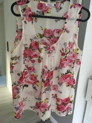 Blumentop weiß rosa Only