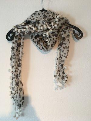 Bufanda de flecos blanco-marrón