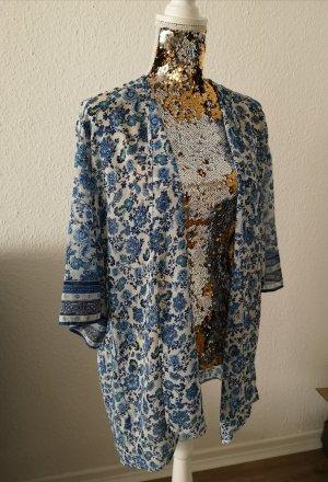 H&M Chemisier kimono blanc-bleu fluo