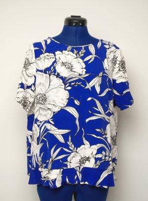 Blumiges, Blaues Sommershirt Zara Gr. M