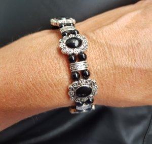 Blumiges Retro Armband /Silber/Schwarz