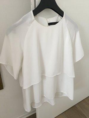Zara Short Sleeved Blouse white