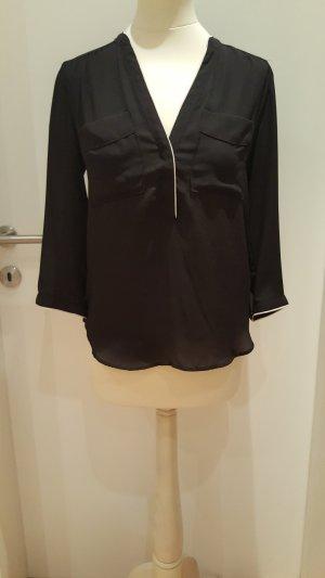 H&M Camisa de mujer negro-blanco puro
