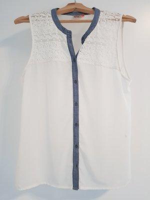Only Blusa sin mangas blanco-azul celeste