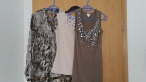 Bluse  + 2 Tops taupe/beige/nude mit Steinchen