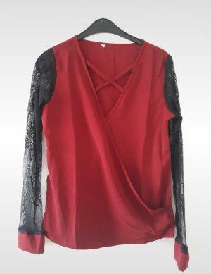 Sheinside Kanten blouse zwart-bordeaux