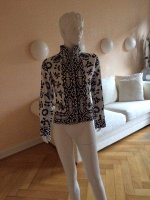 Naracamicie Stand-Up Collar Blouse white-black cotton