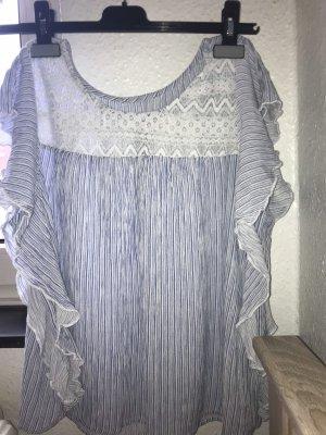 C&A Ruche blouse wit-azuur