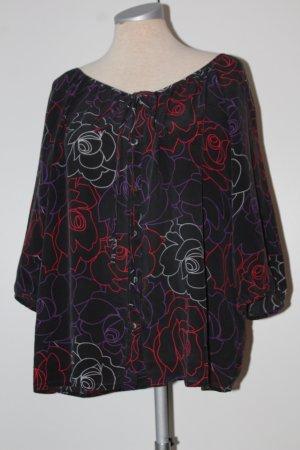 Bluse 3/4 Arm 100 % Seide Hobbs Gr. UK 14 EUR 42 Rosen schwarz rot weiß