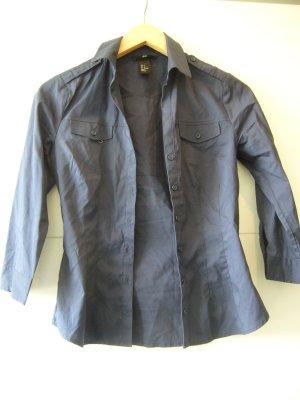 Bluse 3/4 Arm dunkelblau marine H&M XS 34 72% Baumwolle