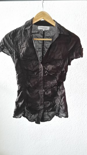 Clockhouse Blouse en crash brun noir coton
