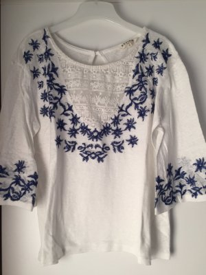 Review Blouse en crash blanc-bleu acier