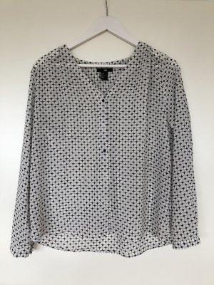 H&M Geruite blouse wit-donkerblauw