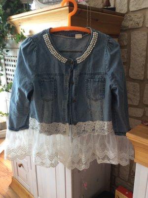 Jeans blouse blauw-wit