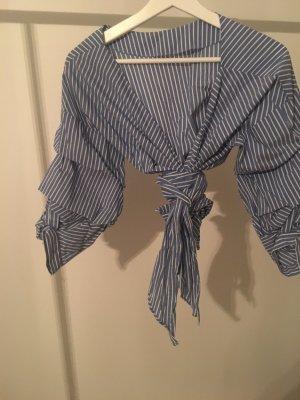 Zara Camicetta a blusa bianco-blu fiordaliso