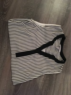 H&M Linen Blouse black-white