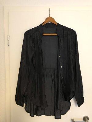 Glanzende blouse antraciet
