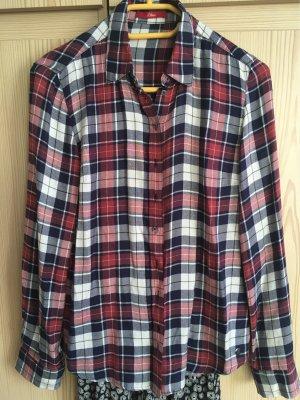 s.Oliver Geruite blouse donkerblauw-donkerrood