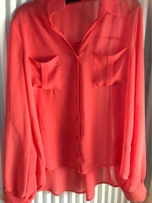 Transparante blouse lichtrood