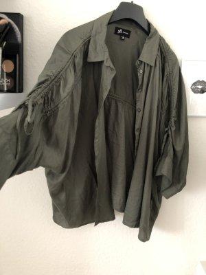 yfl RESERVED Blusa tipo kimono verde oscuro-caqui
