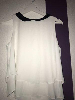 Clockhouse Silk Blouse white-black