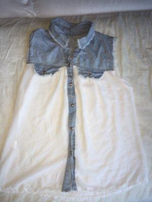 Jeans blouse wit-blauw