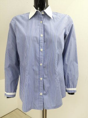 0039 Italy Blouse white-steel blue
