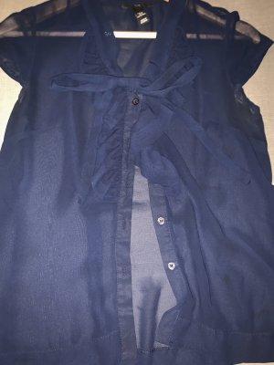 H&M Blusa con volantes azul oscuro