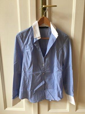 Zara Long Sleeve Blouse white-cornflower blue
