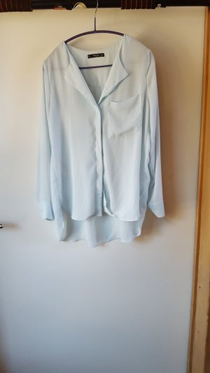 Mango Blusa ancha azul pálido-turquesa