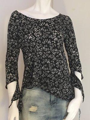Slip-over Blouse black-light grey cotton
