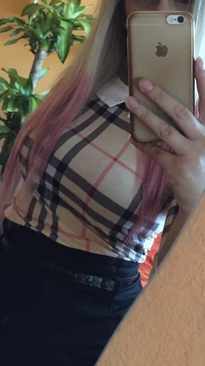 Carmen blouse wit-lichtbruin