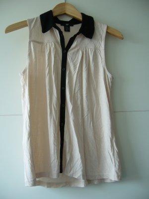 Bluse ärmellos beige schwarzer Kragen H&M XS 34