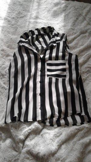 Bluse Ärmellos schwarz weiß