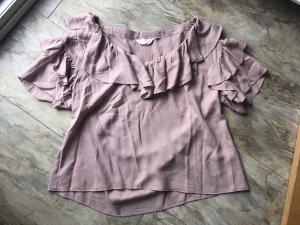 H&M Ruche blouse stoffig roze-mauve