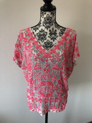 Antik Batik Tuniekblouse wolwit-framboosrood